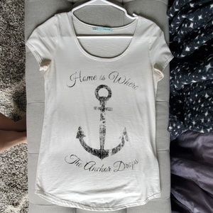 White Ancher Graphic Tee